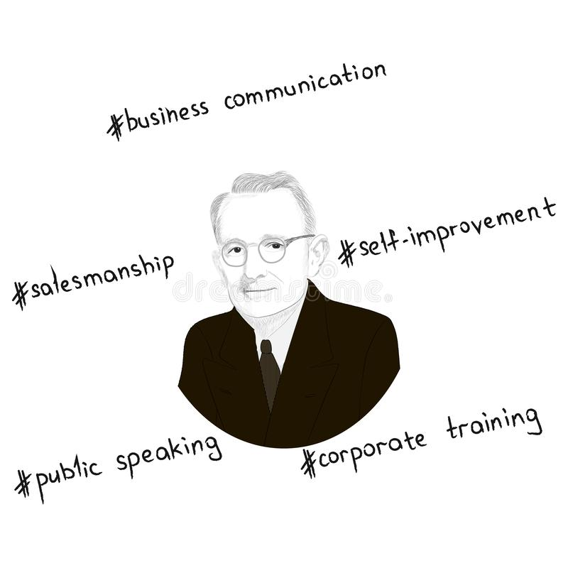 Portrait of Dale Carnegie. Key concepts in the form of hashtags. Hand drawn illustration. Vector vector illustration