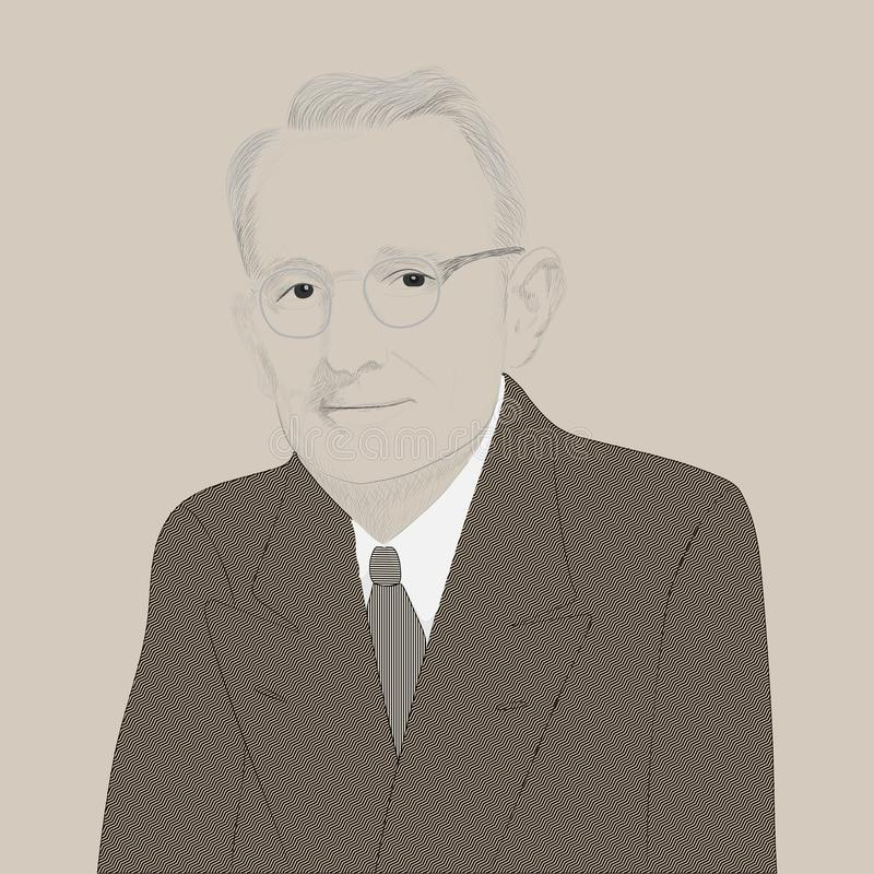 Portrait of Dale Carnegie. American psychologist. Developer own concept of conflict-free communication. .Founder courses on self-improvement, effective stock illustration