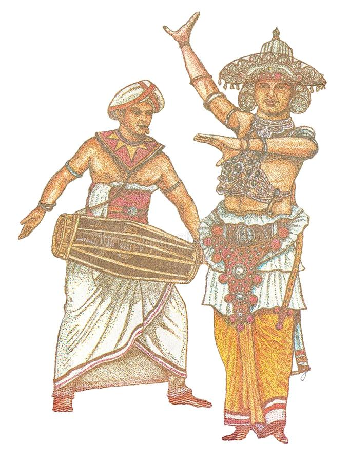 Portrait of Dancer Ves Netuma and drummer Geta Bera from a bank note of 20 Sri Lankan rupee 2010 of release stock photos