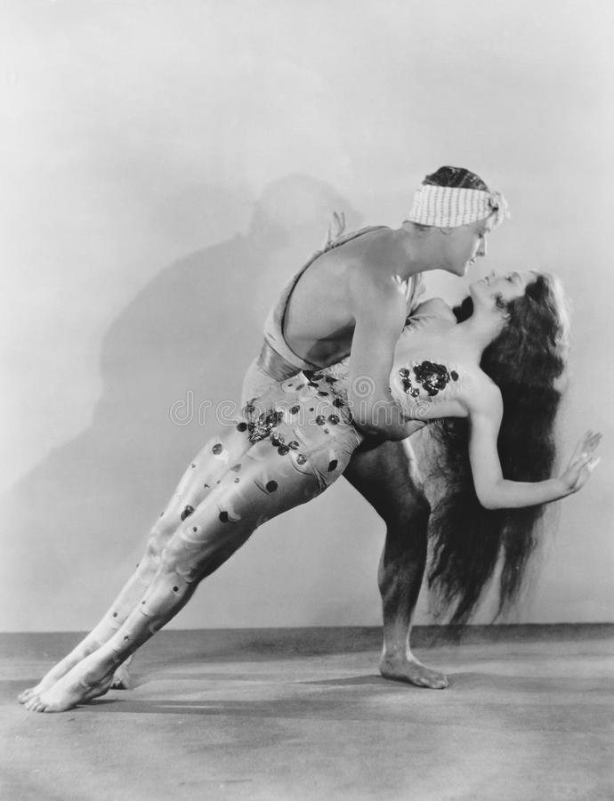 Portrait of dancers performing stock photo
