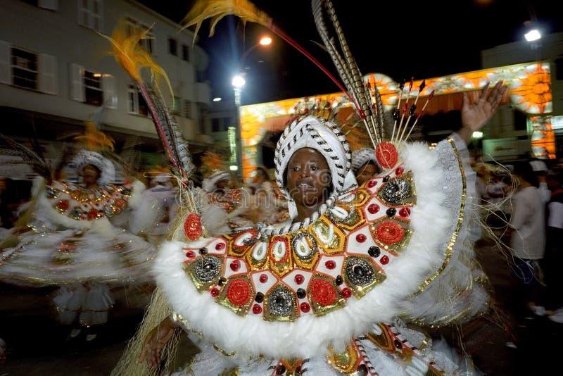 Portrait of dancing female carnival reveler stock image
