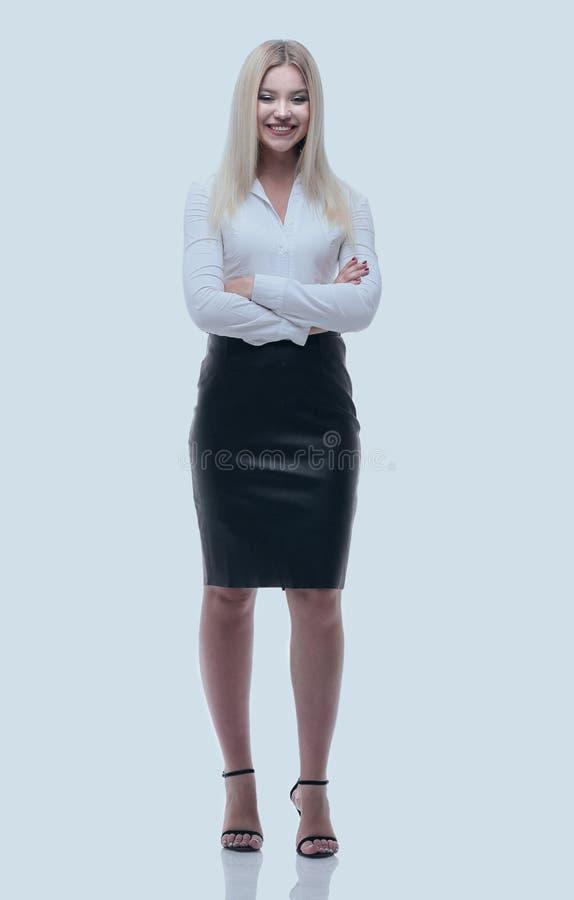 Portrait dans la pleine croissance, une jeune dame d'affaires photographie stock libre de droits