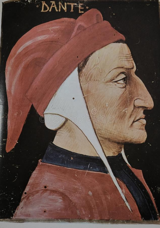 Portrait of Dante Alighieri. Famous stock photography
