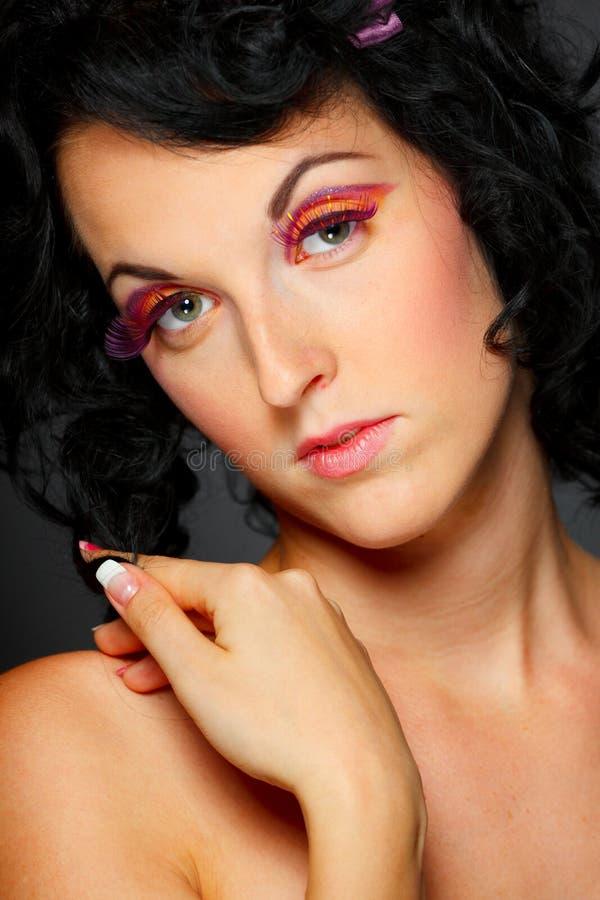 Portrait of dark hair lovely girl royalty free stock image