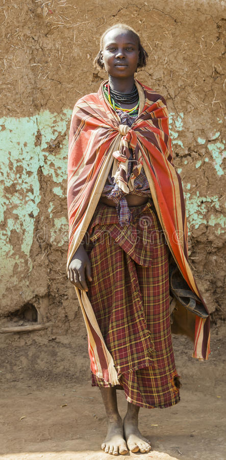 Portrait of Dassanech girl. Omorato, Ethiopia. OMORATO, LOWER OMO VALLEY, ETHIOPIA - JANUARY 31, 2012: Portrait of unidentified Dassanech girl. Omorato one of royalty free stock images