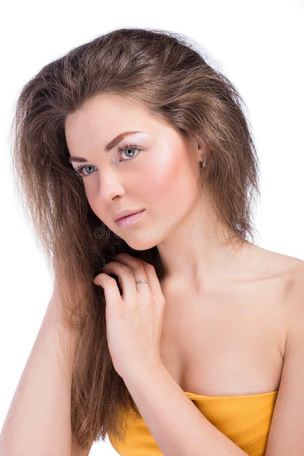 Portrait de ?lose de belle fille nue avec le maquillage léger photos libres de droits