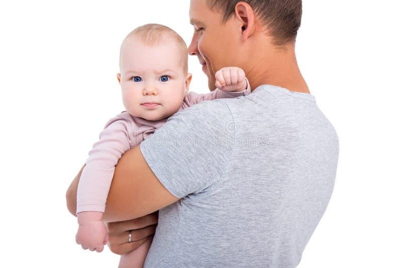 Portrait de bébé mignon sur des mains du ` s de père d'isolement sur le blanc images libres de droits