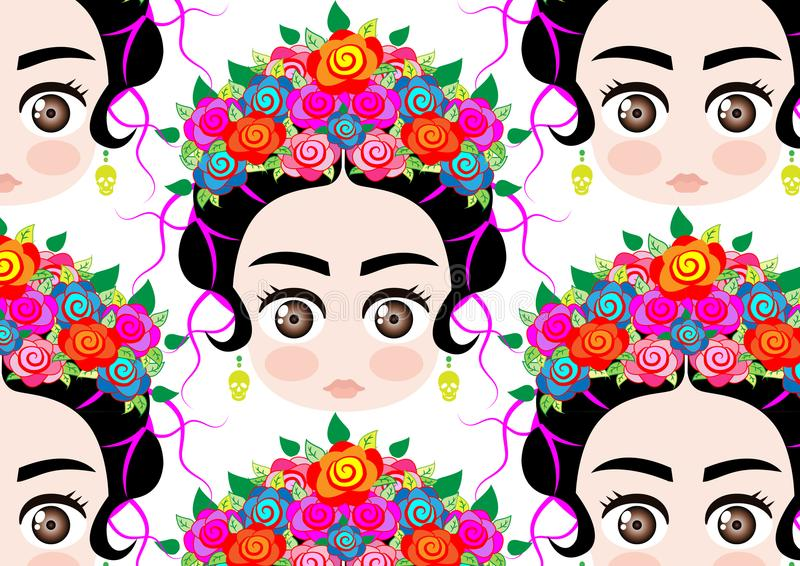 Portrait de bande dessinée de fond, femme mexicaine de bébé d'Emoji avec la couronne des fleurs colorées, coiffure mexicaine typi illustration de vecteur