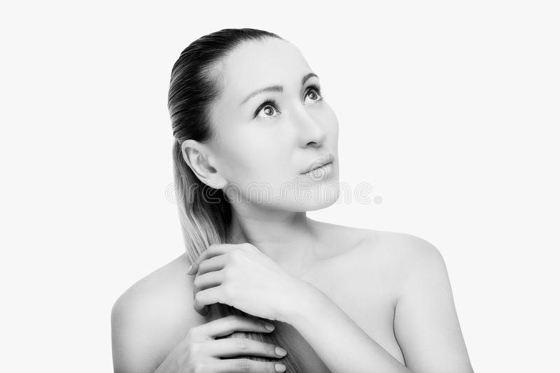 Portrait de beau visage avec de beaux yeux - d'isolement sur le blanc photos libres de droits