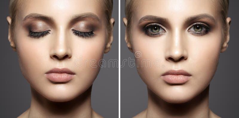 Portrait de beau visage de femme Composez les yeux fumeux photographie stock libre de droits