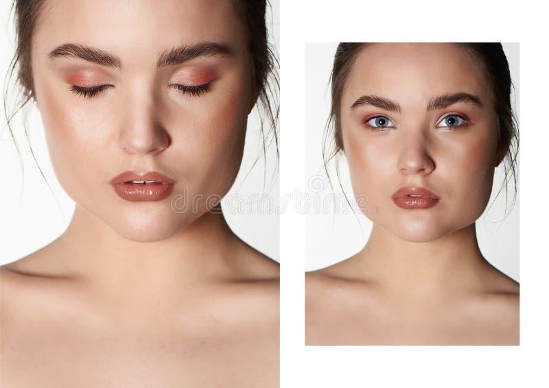 Portrait de beauté de belle jeune brune avec la peau propre Soin au sujet de beauté et de santé collage photographie stock libre de droits