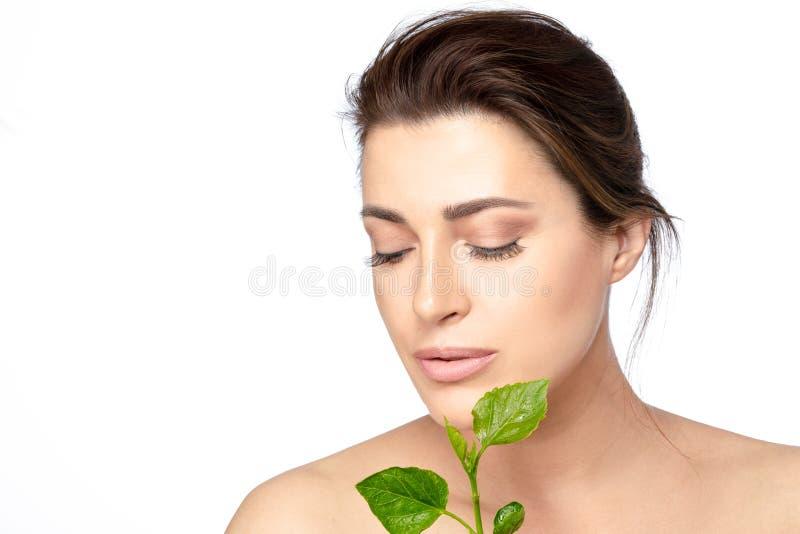 Portrait de beauté d'une jeune femme avec les feuilles vertes Soins de la peau, santé et concept naturels de traitement de statio photographie stock