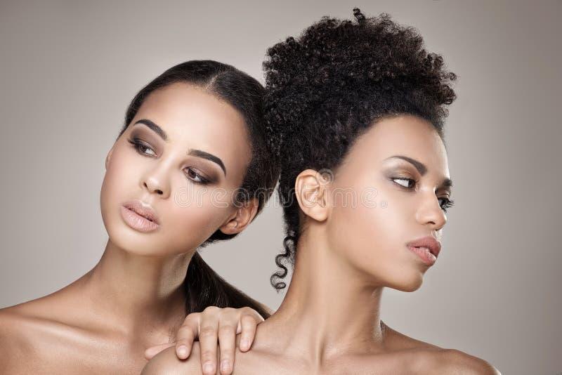 Portrait de beauté de deux filles d'afro-américain photo stock
