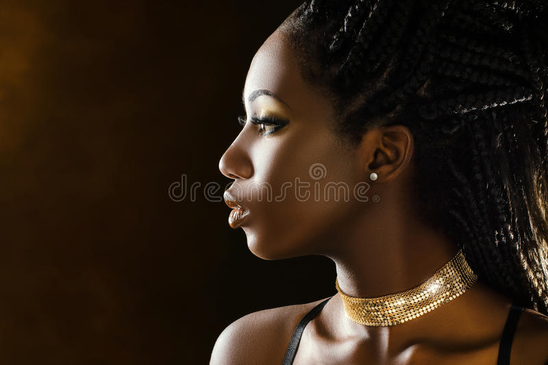 Portrait de beauté de profil de studio de fille africaine photographie stock