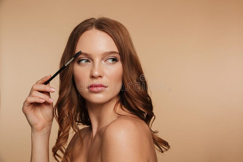 Portrait de beauté de femme calme de gingembre avec de longs cheveux image stock