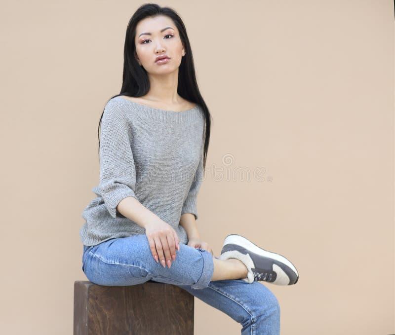 Portrait de beaut? de jeune femme asiatique sensuelle avec de longs cheveux fonc?s dans le chandail gris tricot? confortable sur  image stock