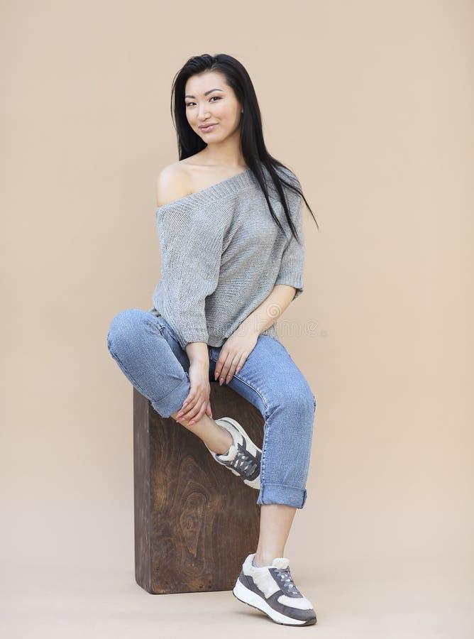 Portrait de beaut? de jeune femme asiatique sensuelle avec de longs cheveux fonc?s dans le chandail gris tricot? confortable sur  photographie stock