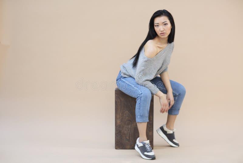 Portrait de beaut? de jeune femme asiatique sensuelle avec de longs cheveux fonc?s dans le chandail gris tricot? confortable sur  image libre de droits
