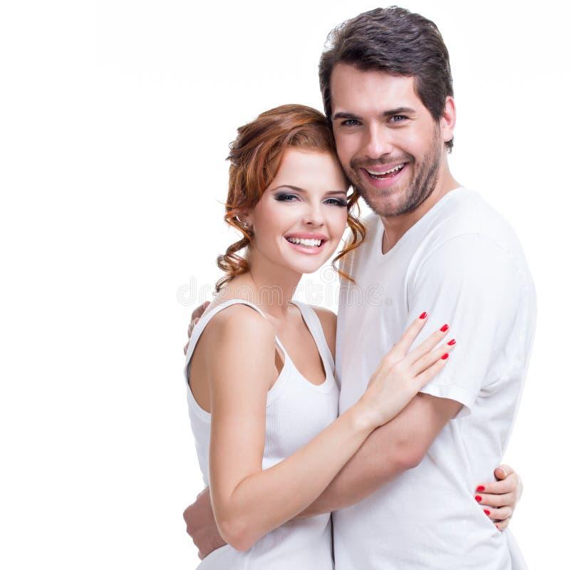 Portrait de beaux couples heureux attrayants images libres de droits