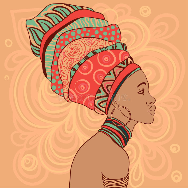 Portrait de belle femme africaine dans le turban illustration stock