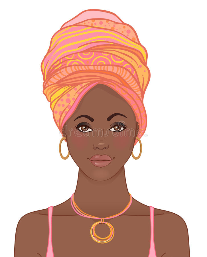 Portrait de belle femme africaine dans le turban Ennui tribal de style illustration de vecteur