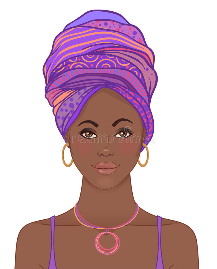 Portrait de belle femme africaine dans le turban Ennui tribal de style illustration libre de droits