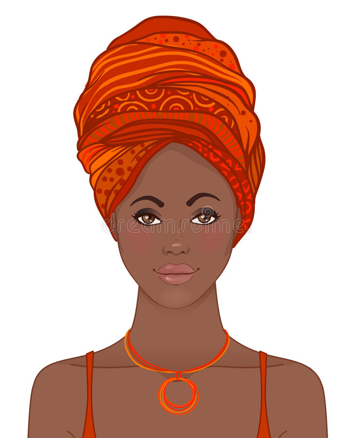 Portrait de belle femme africaine dans le turban Ennui tribal de style illustration stock
