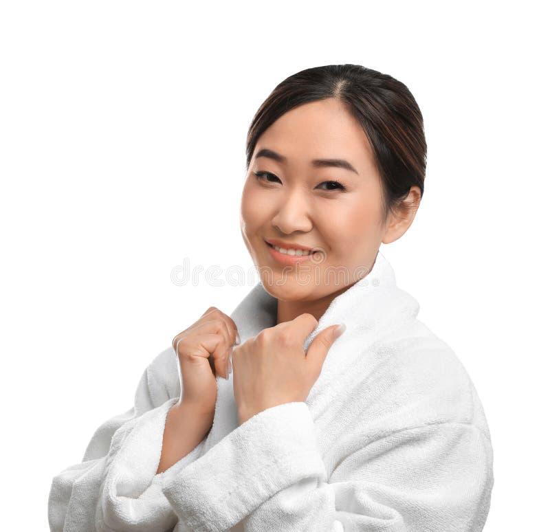 Portrait de belle femme asiatique dans le peignoir Station thermale - 7 photo libre de droits