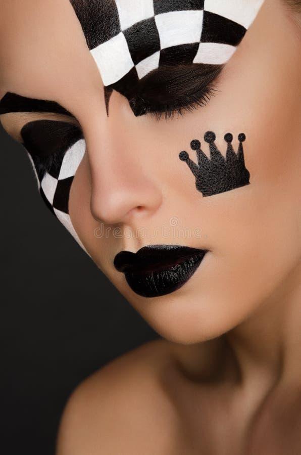 Portrait de belle femme avec l'art noir et blanc de visage photographie stock libre de droits