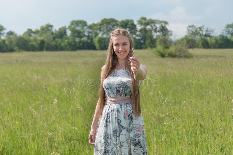 Portrait de belle femme blonde dans un domaine photos stock