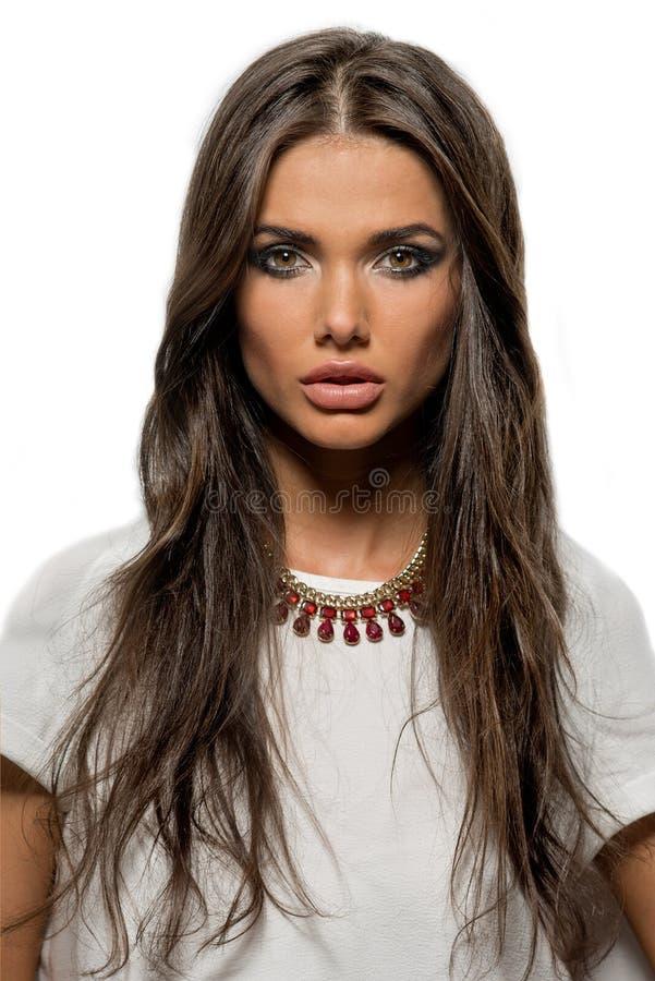 Portrait de belle femme de brune avec les lèvres sexy et les longs cheveux photo libre de droits