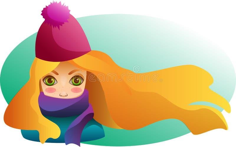Portrait de belle fille dans le chapeau et l'écharpe d'hiver illustration libre de droits