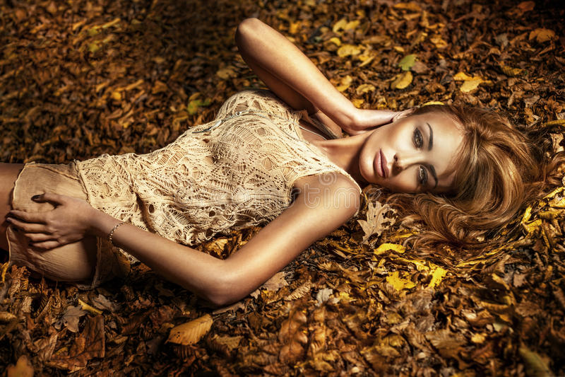 Portrait de belle fille de brune. image stock