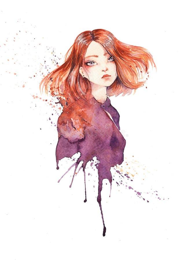 Portrait de belle fille de gingembre avec un regard rêveur mélancolique illustration stock