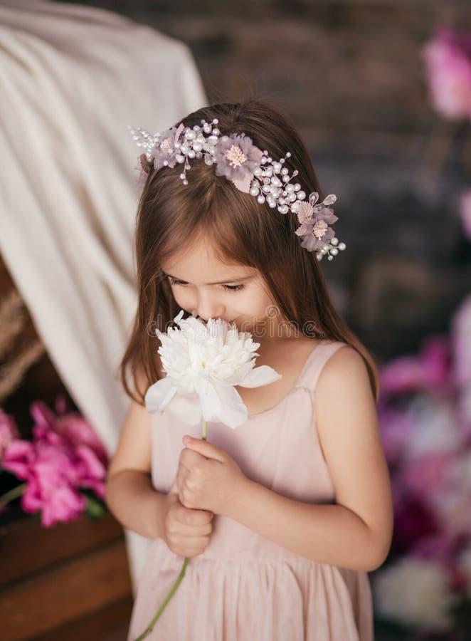 Portrait de belle petite fille avec des pi-mésons images libres de droits