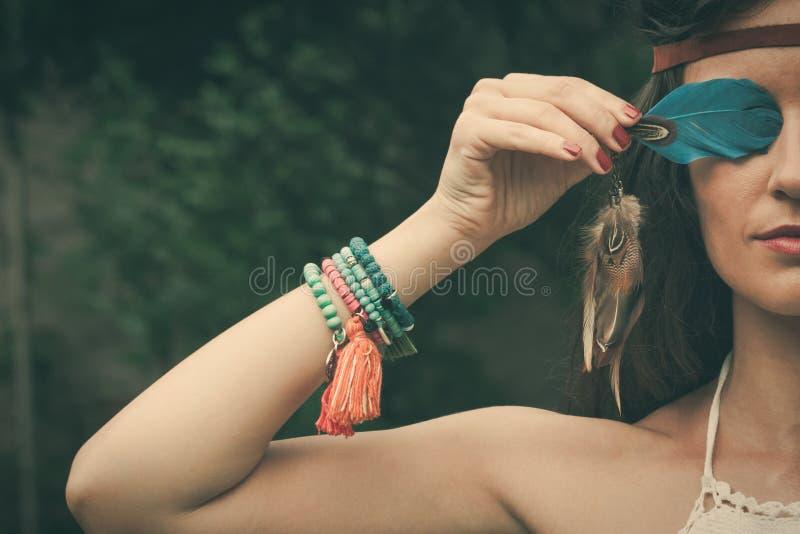 Portrait de Bohème de fille de style photos libres de droits