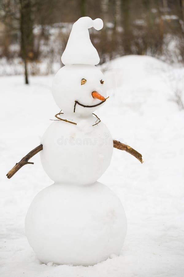 Portrait de bonhomme de neige fait main drôle avec le chapeau supérieur, le tuyau et l'écharpe rouge Fond de for?t d'hiver photo stock
