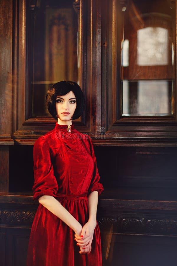 Portrait de brune de dame dans l'intérieur riche sur le mur en bois photos stock