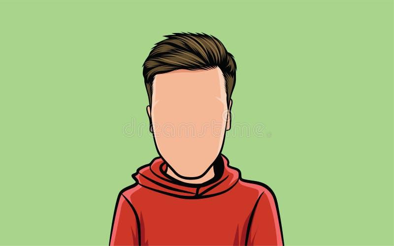 portrait de caricature de bande dessinée, et coiffure illustration libre de droits