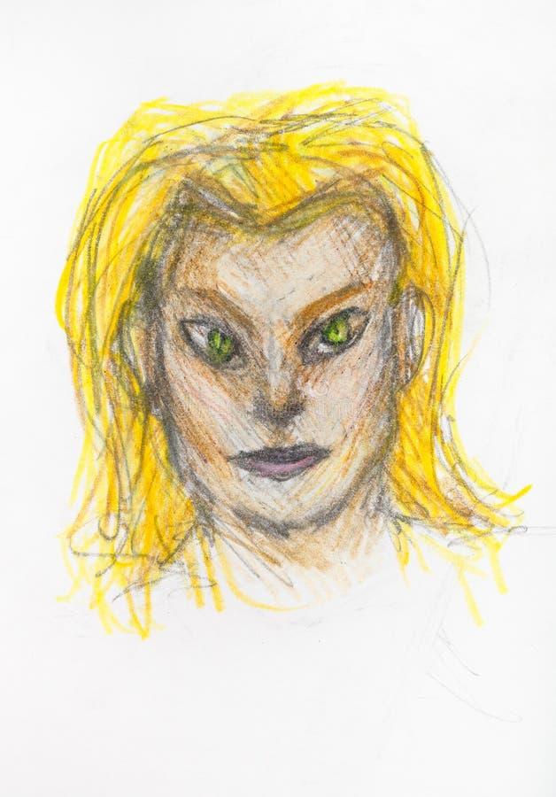 Portrait de catwoman avec les cheveux jaunes par des crayons illustration libre de droits
