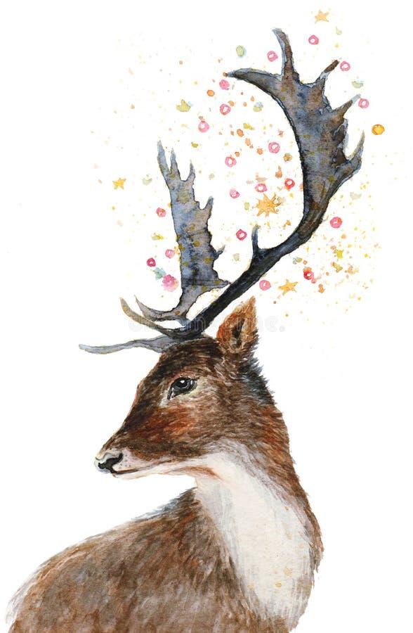 Portrait de cerfs communs d'aquarelle illustration stock