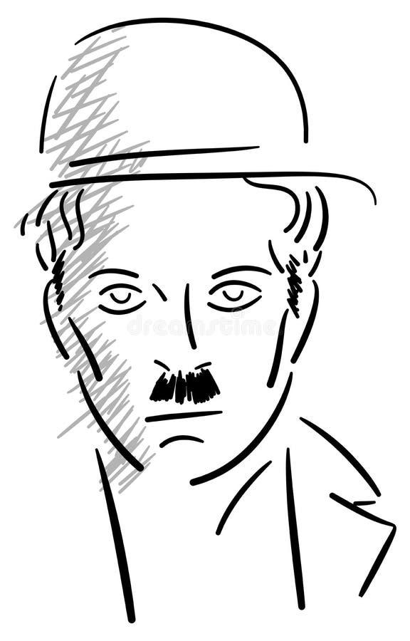 Portrait de Charlie Chaplin illustration libre de droits