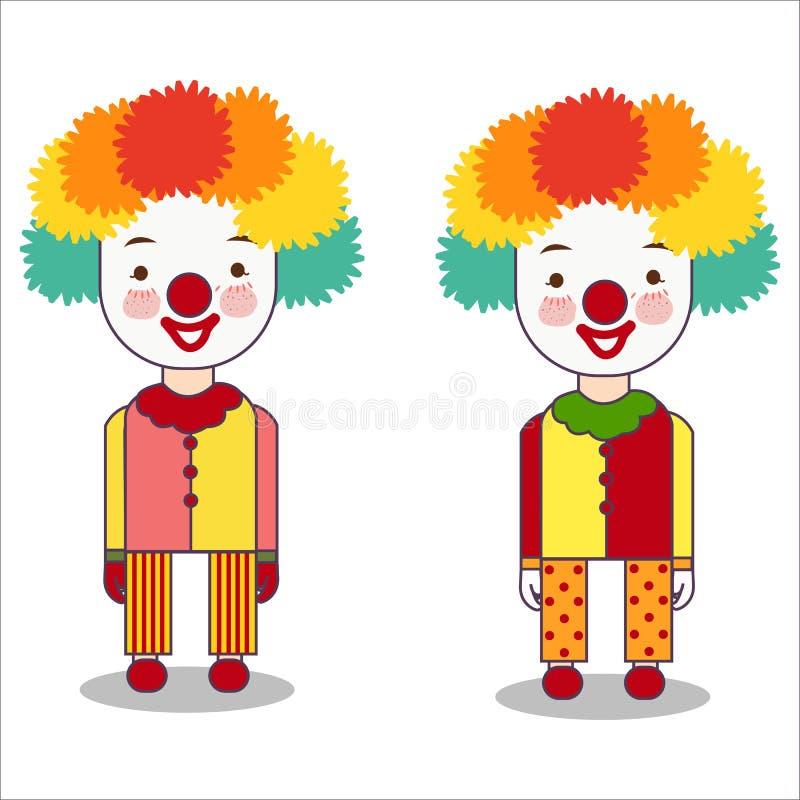 Portrait de clown d'isolement sur le costume de port de fond blanc avec la perruque et le vecteur plat de profession rouge de nez illustration stock