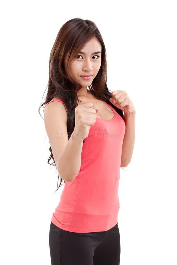 Portrait de combattant femelle, boxeur image libre de droits