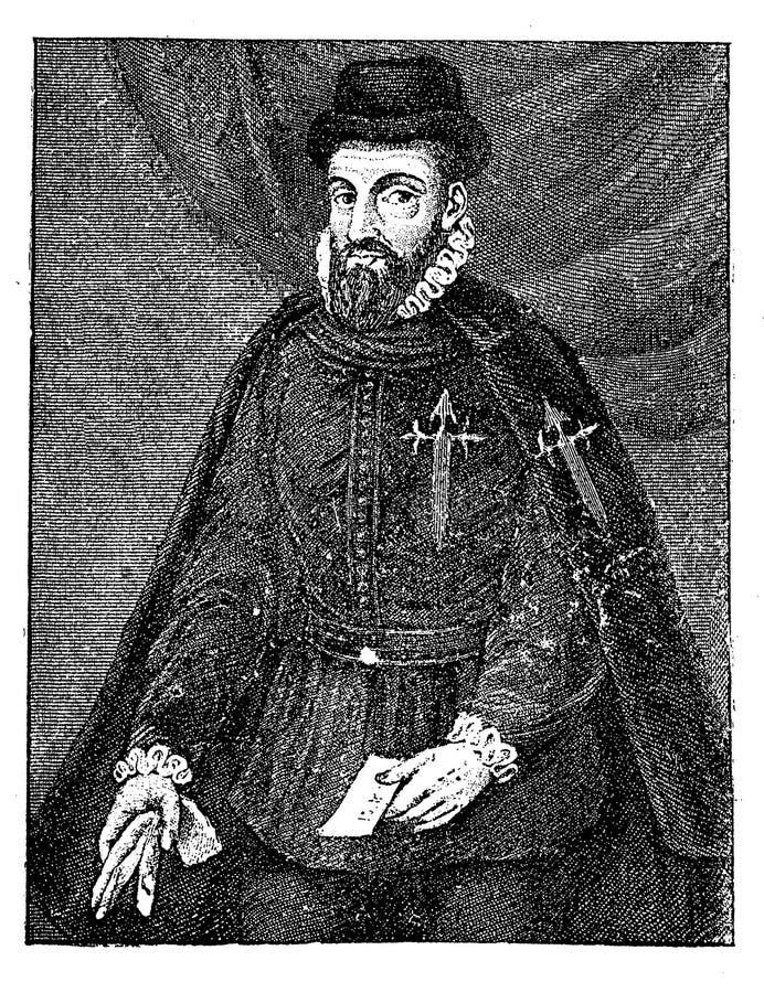 Portrait de conquérant espagnol de Francisco Pizarro illustration de vecteur
