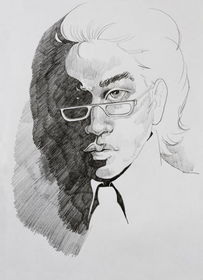 Portrait de crayon de jeune homme en verres illustration stock