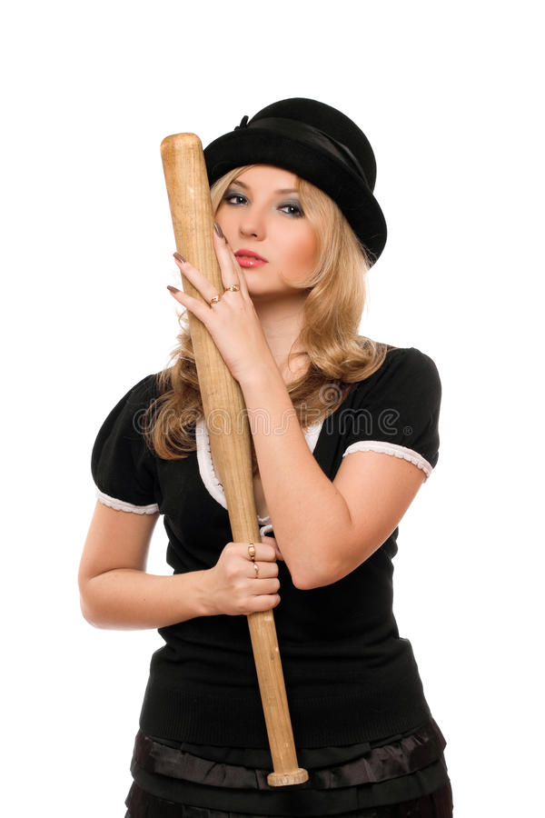 Portrait de dame attirante avec une batte photographie stock libre de droits