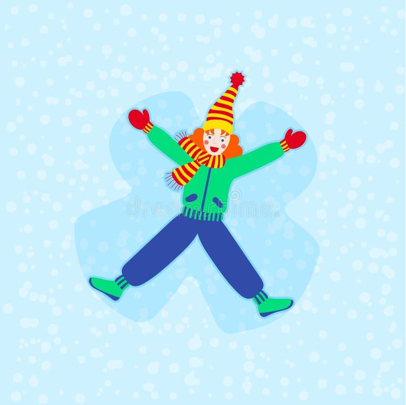 Portrait de dessin animé moderne d'une adolescente sur fond bleu pour la conception de bannières Ange des neiges Modèle hiver Arr illustration stock