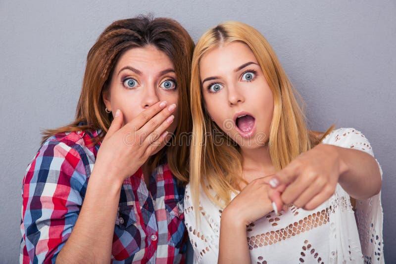 Portrait de deux femmes étonnées images libres de droits