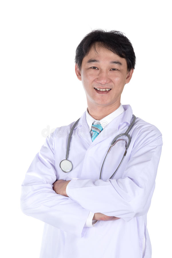 Portrait de docteur heureux souriant sur le fond blanc image stock